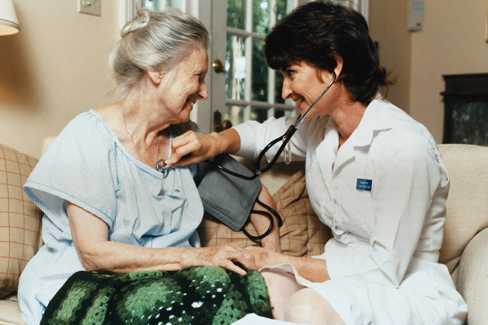Woman and nurse relax